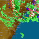 eastern NSW storms lightning map