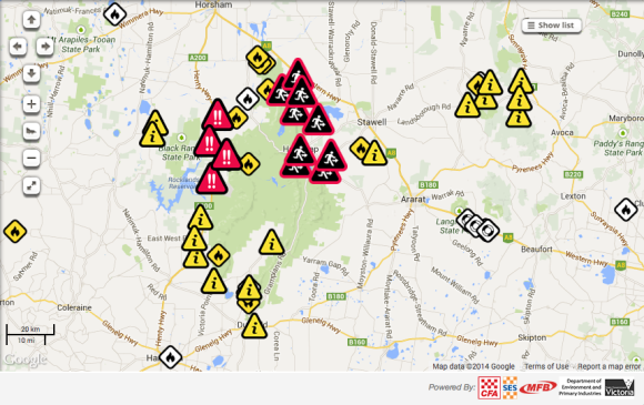 Grampians bushfires Map 17th January 2014