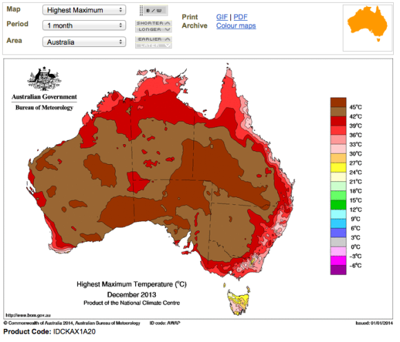 Maximum temperatures january 2014 december 2013