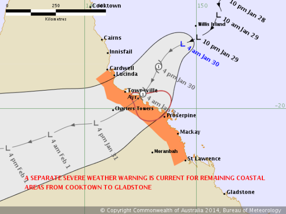 TROPICAL CYCLONE FORECAST TRACK MAP 30th January 2014