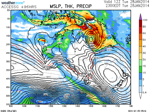 Developing tropical low far north Queensland Coast