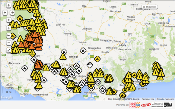 Victorian  bushfire map 16th January 2014