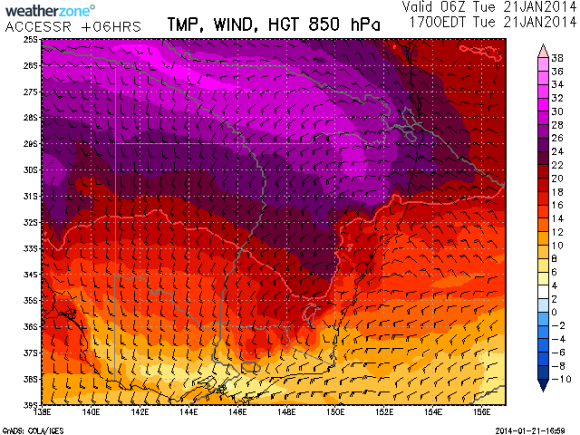 extremely hot 850hPa temperatures 21st 2014