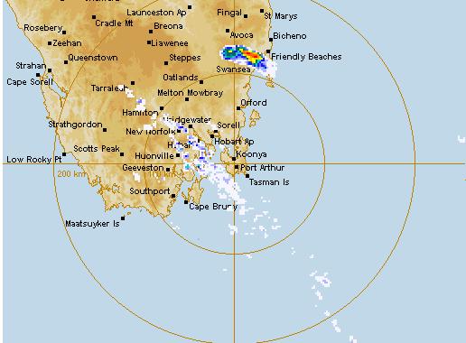 Tasmania Hailstorm Warning 24th January 2014