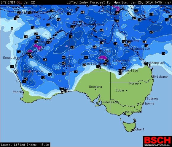 Surface lifted index covering a majfority of Australia!