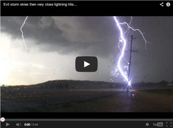 Incredible lightning bolt hits power pole