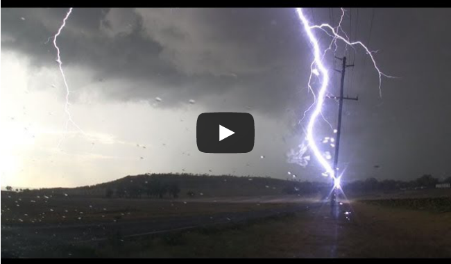 Severe storm with very close lightning hitting power pole - near Toowoomba 22 Jan 2014