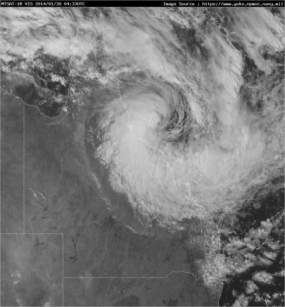 Satellite imagery of Tropical Cyclone Dylan