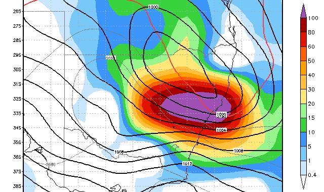 Forecast Rain event for Sydney 18th February 2014
