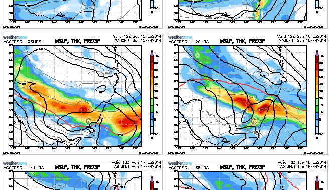 Rain and storms for eastern NSW 15th to 16th February 2014