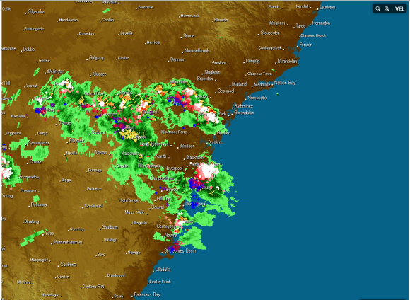 Lightning Radar sSydney 5th March 2014