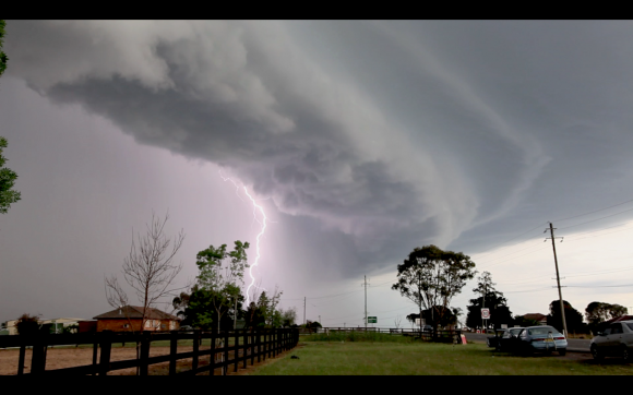 Shelf cloud  lightning 13th October 2014