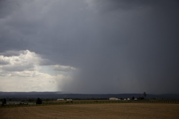 Microburst developing west of Penrith