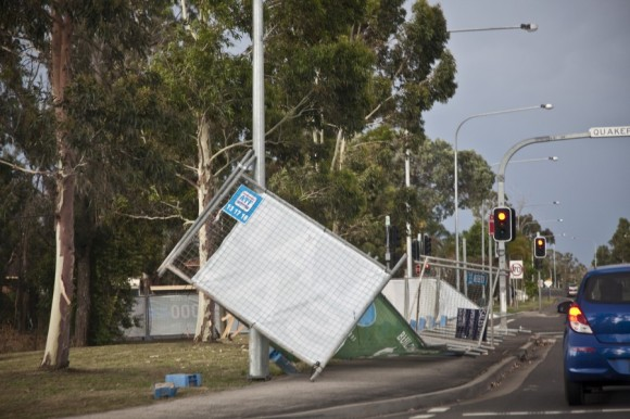 Damage from second microburst Quakers Hill