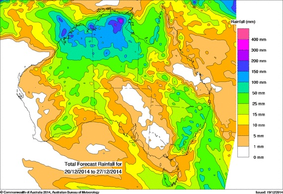 Rainfall Australia 20th to 28th December 2014