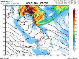 Tropical Cyclone Development off Cape York Queenland 12th March 2015