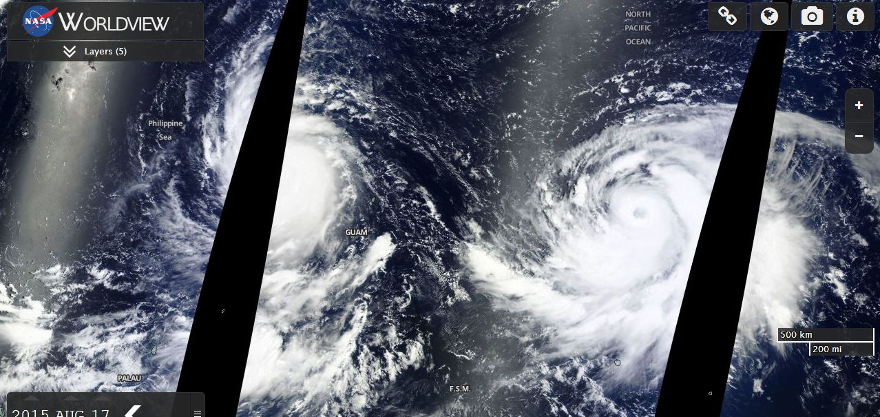 New Typhoons Atsani and Goni West Pacific Ocean August 17 2015