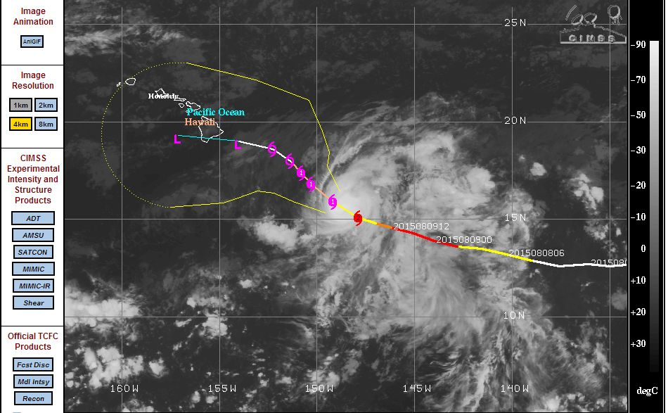 Hurricane Hilda reaches Category 4 then weakens - August 9 2015