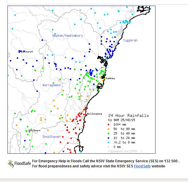 Heavy rain and flooding Illawarra and South Coast NSW 25 August 2015