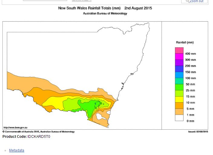 ACT, Southern NSW and NE Victoria rain event 1 and 2 August 2015