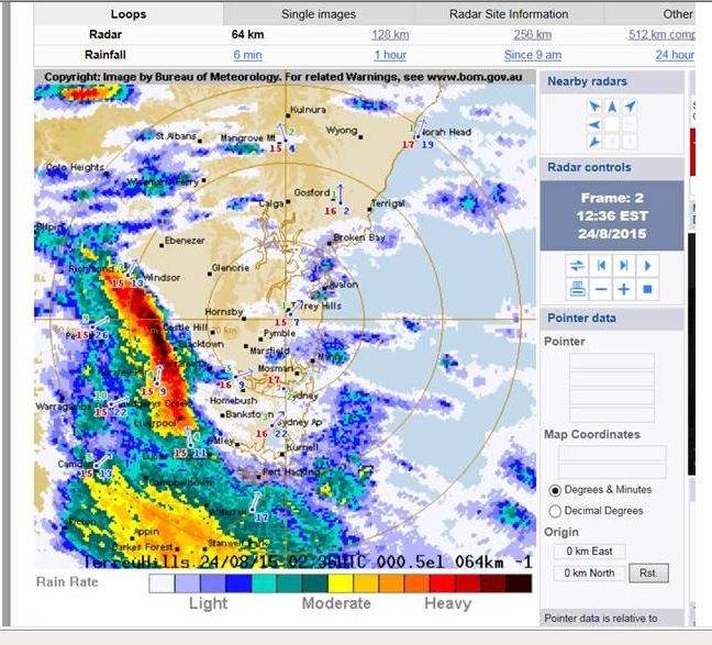 Rain and storms New South Wales and Sydney August 24 2015