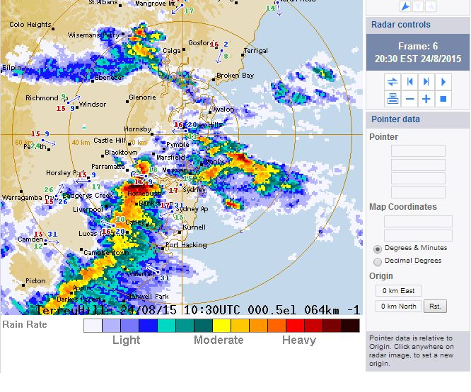 Rain and storms for Sydney August 24 2015