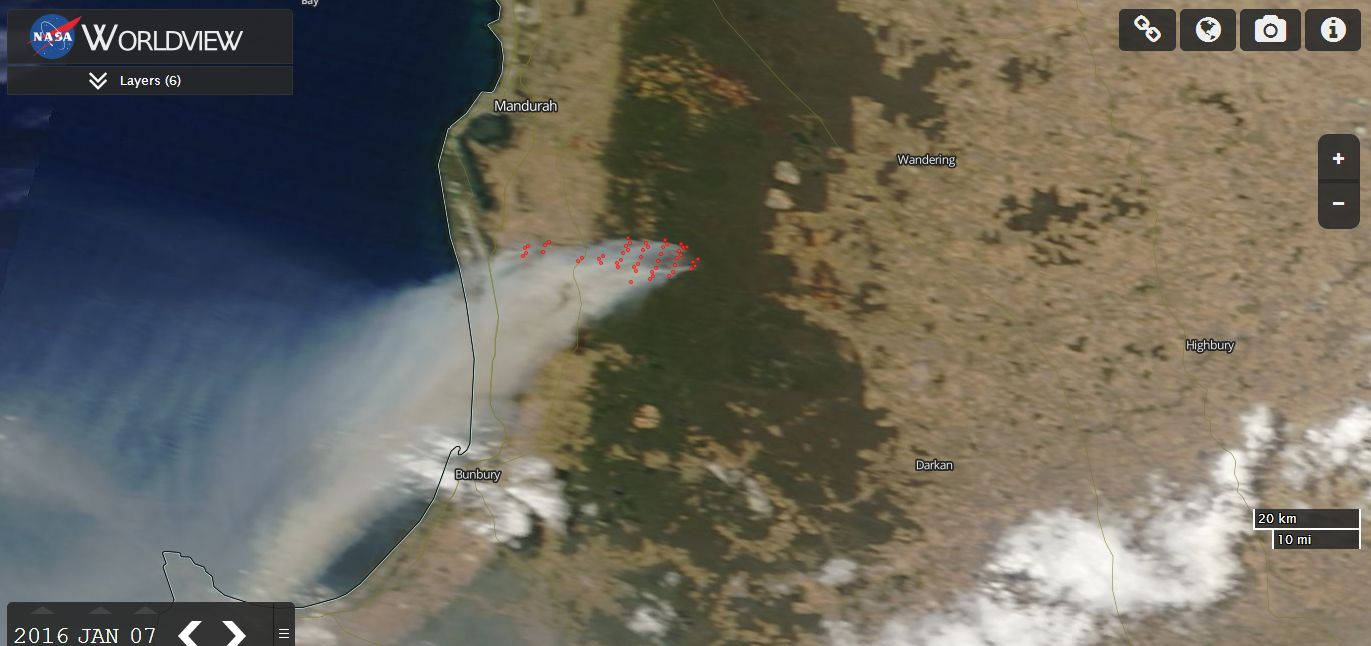 Yarloop bushfire Western Australia 8 January 2016