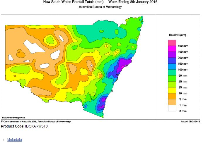 Final cumulative rainfall for Eastern NSW 2 to 8 January 2016