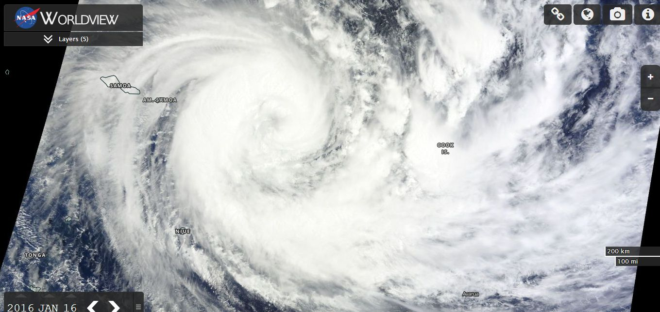 Tropical Cyclone Victor South Pacific Ocean 15 to 19 January 2016