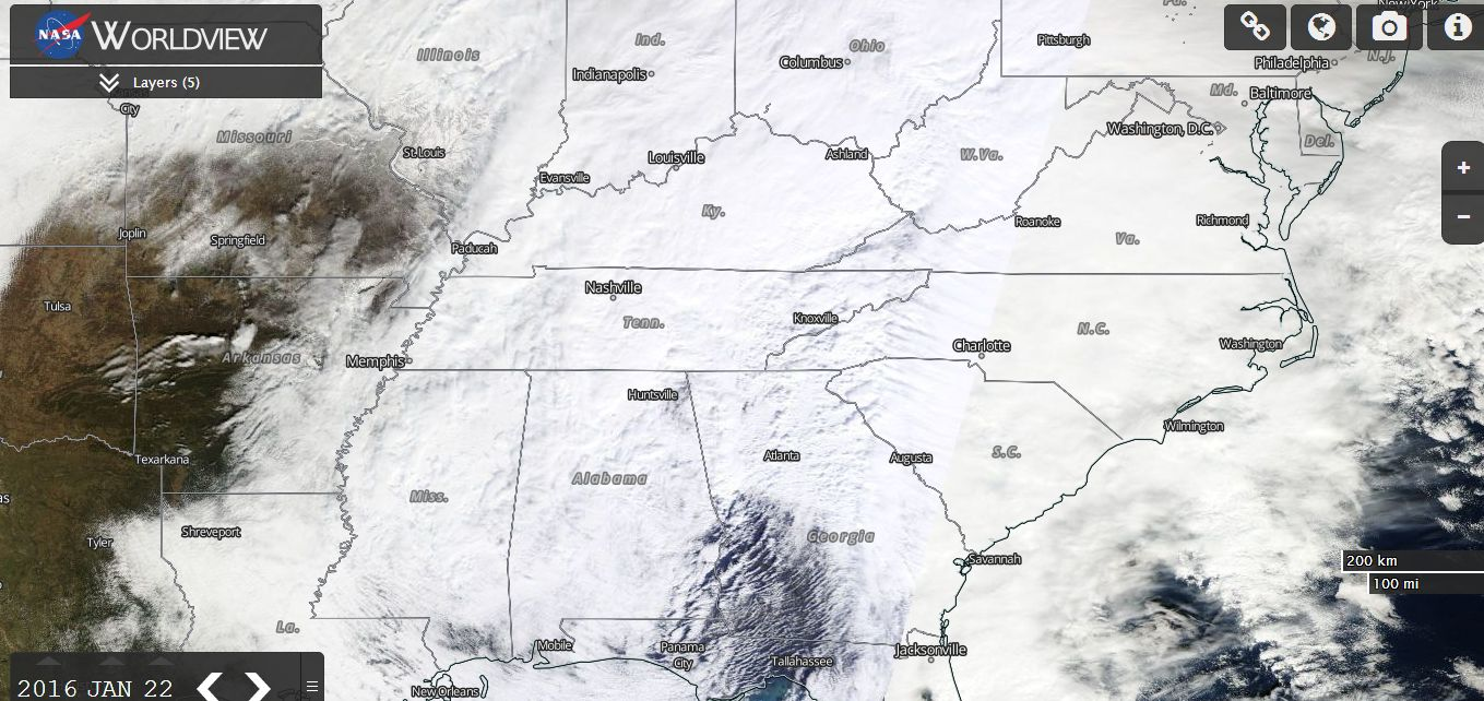 Powerful winter snow storm Eastern USA 22 and 23 January 2016