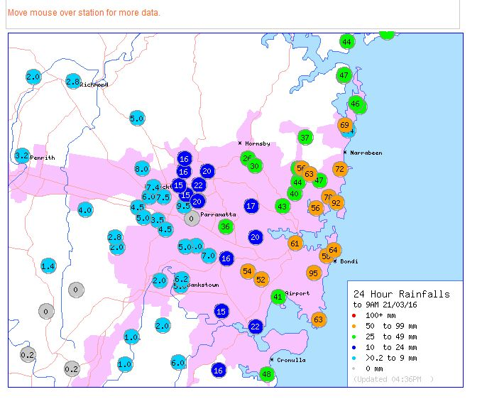 Heavy coastal showers affect eastern Sydney - 21 and 22 March 2016