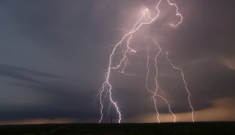 Lightning and sculptured supercell