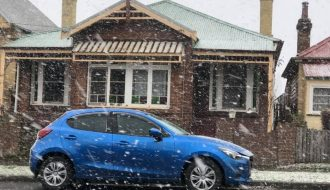 Lithgow 900m asl had about 20 minutes of large snow flakes - pretty impressive! 10th August 2019
