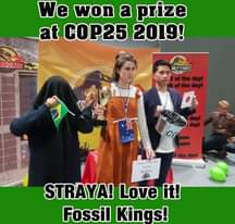 """Image may contain: 2 people, people standing, text that says """"We won a prize at COP25 2019! BOARD the dayl dayl a dayl dayl the dayl STRAYA! Love it! Fossil Kings!"""""""