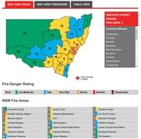 Highest severe fire weather rating today (Sydney metro region) probably inversel...
