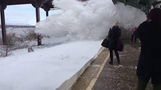 Approaching Amtrak train engulfs passengers in snow  A video posted to YouTube W...