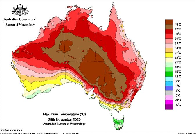 Heat continues for NSW Sunday 29 November 2020