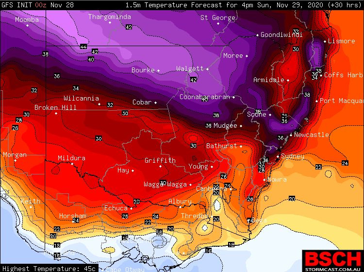 Heatwave SE Australia 27 to 29 November 2020 and weather extremes