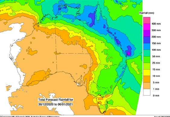 Rain and storms December 29 and 30 2020 while dry in SW New South Wales.