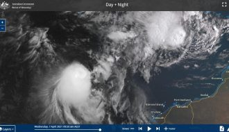 Two tropical storms off NW Western Australia - A rare event - 7 April 2021