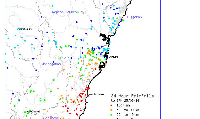 Heavy Rainfall Event for Sydney 24th March 2014 3