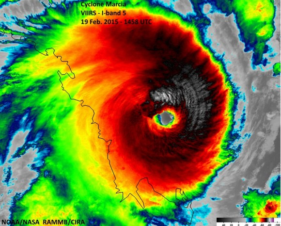 Tropical Cyclone Marcia  Infrared Satellite Image