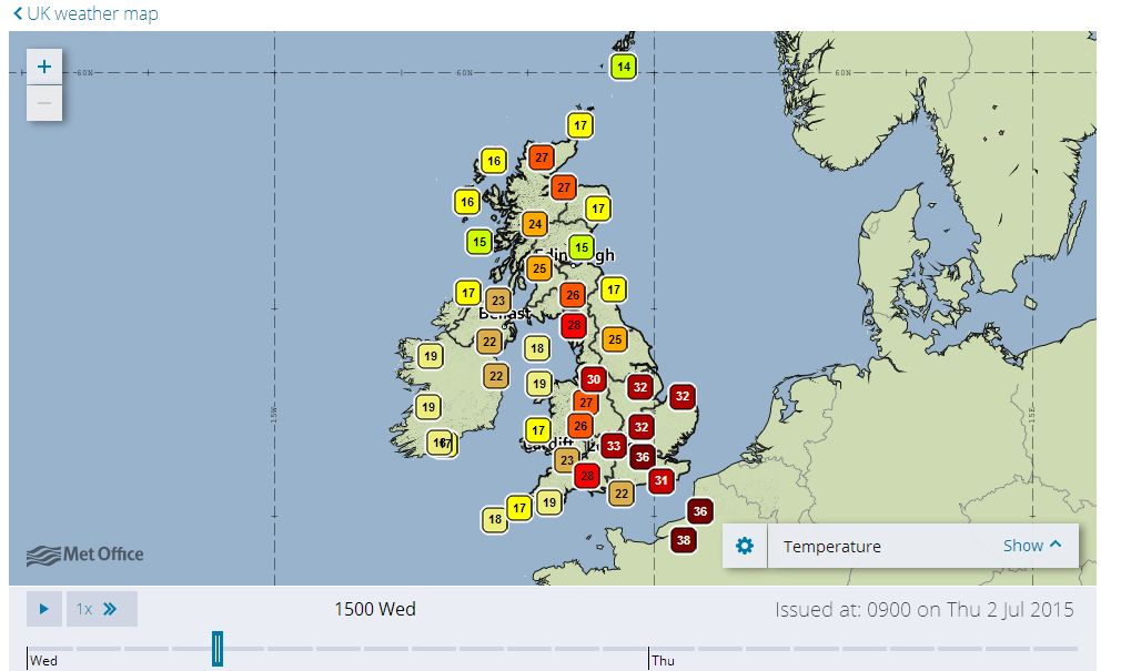 Brief hot spell in South East England - July 1 2015