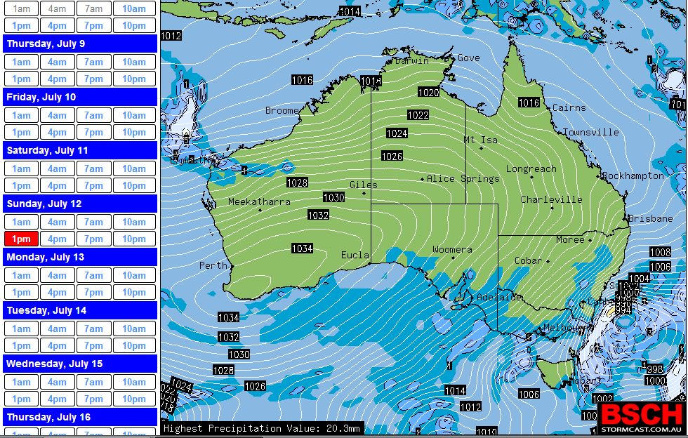 Winter storm, cold and snow SE Australia July 10 to 14 2015