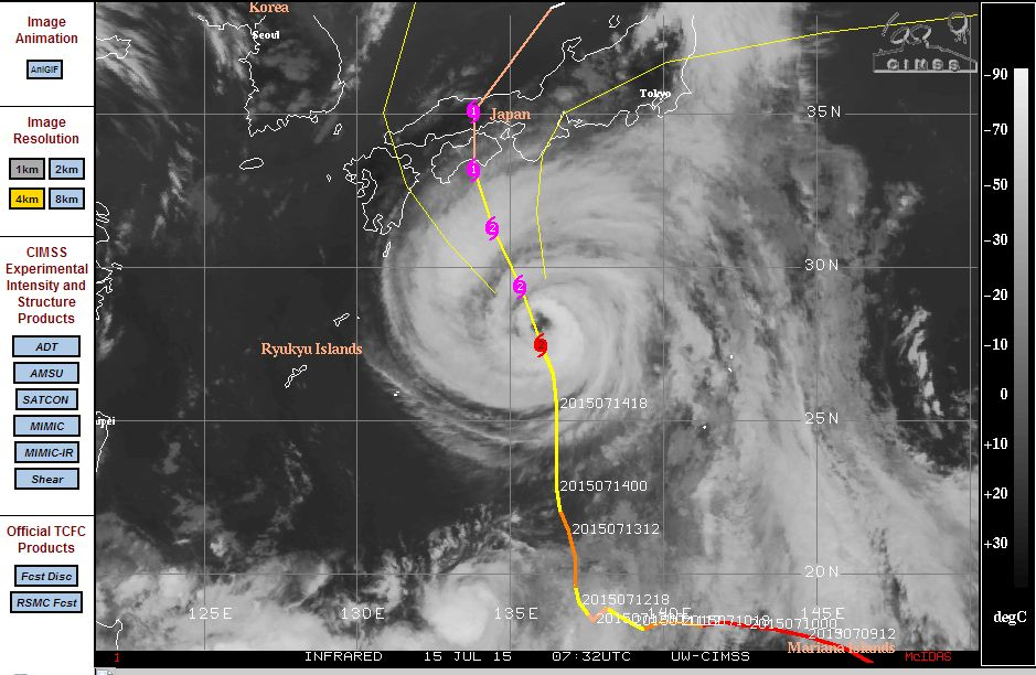 Typhoons and Hurricanes across the Pacific Ocean 15 July 2015