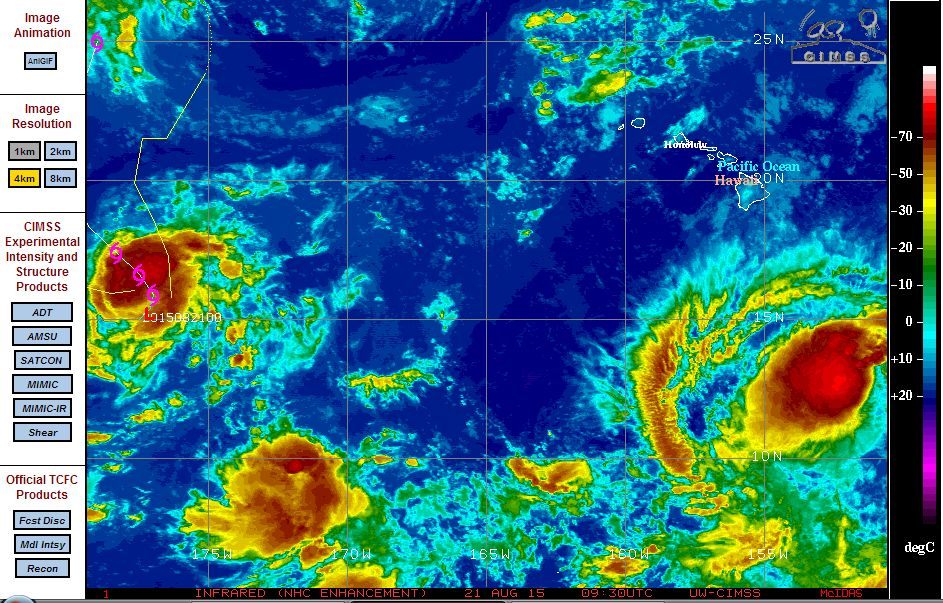 Two new tropical storms near Hawaii August 21 2015