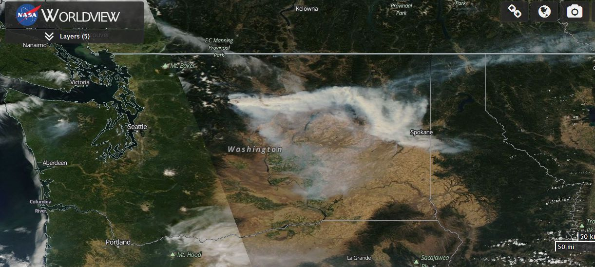 Drought and fires - California to Washington states USA August 2015