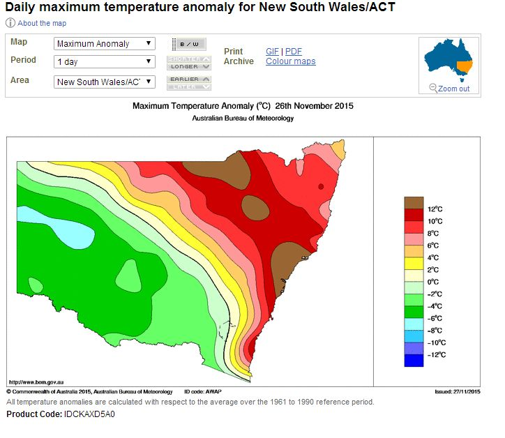 A contrast of hot and cold - New South Wales 26/11/2015