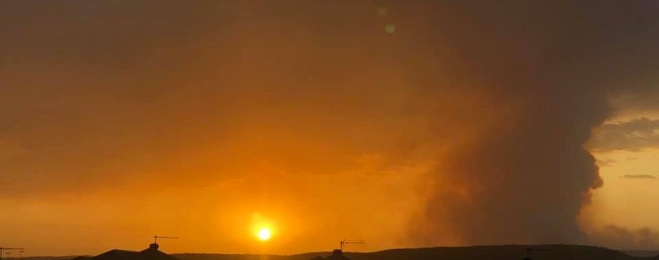 The sun sets on the fire zone