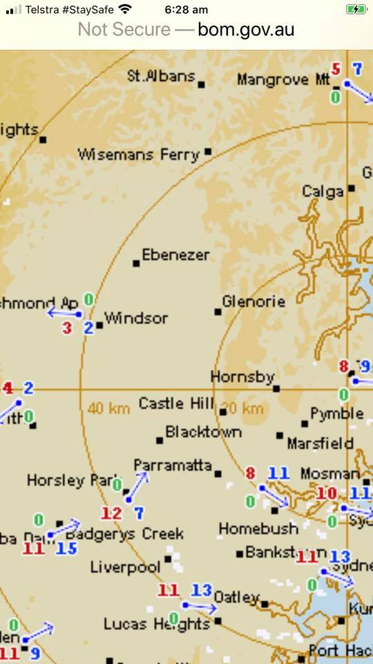 Stark contrast in temperatures from northern half to southern half of Sydney